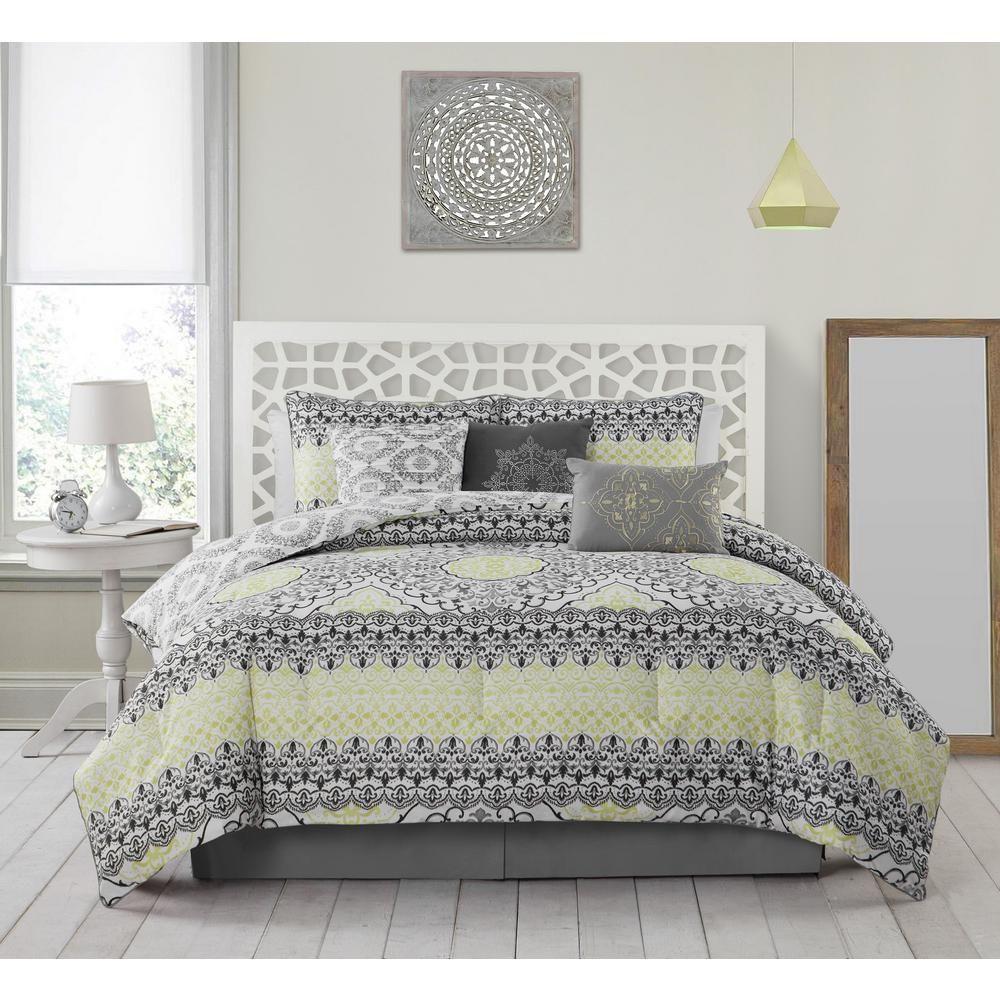 Avondale Manor Celia 7 Piece Grey And Lime King Comforter Set