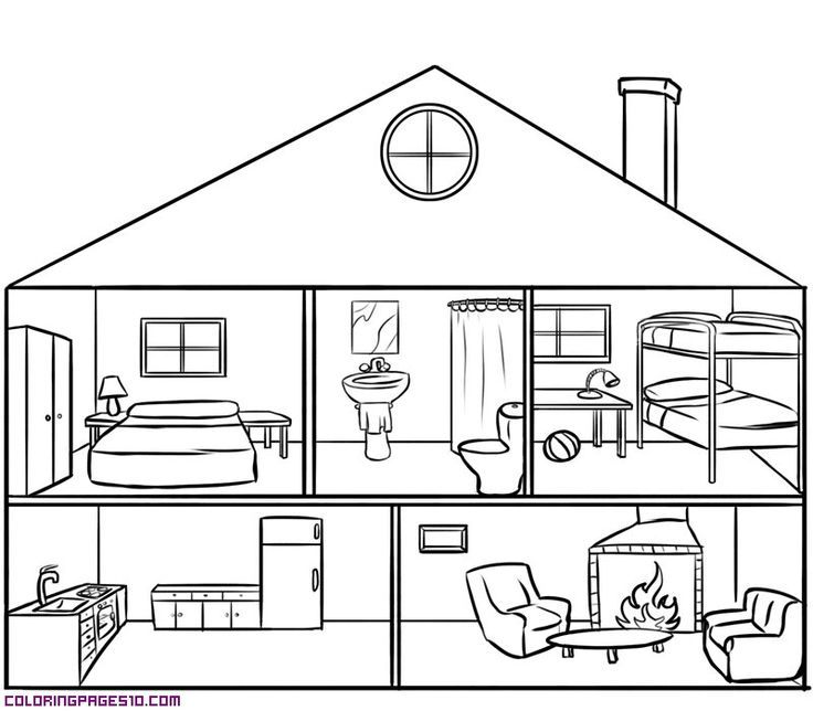 Parts Of The House Black And White Google Search House Colouring Pages Coloring Pages House Drawing