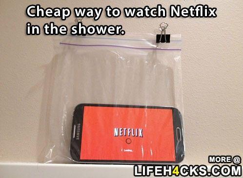 Cheap Way To Watch Netflix In The Shower Netflix Shower Life Hacks Homemade Iphone Case Netflix