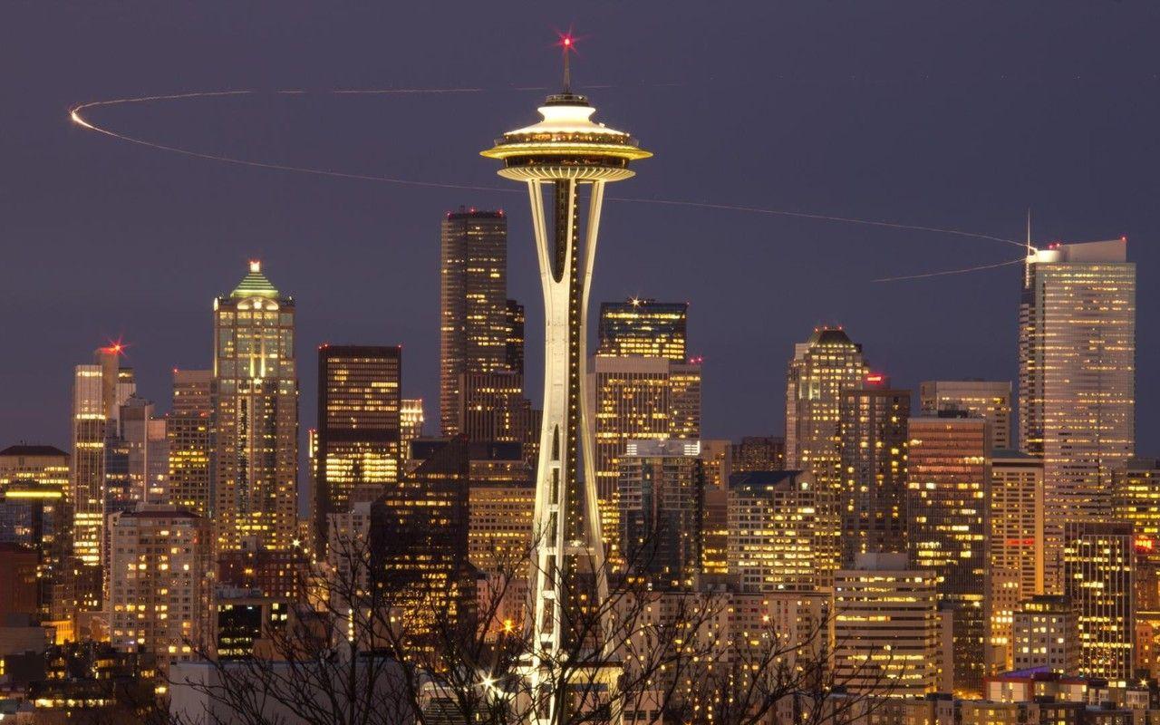 Space Needle Seattle Widescreen World Wallpaper With Images Seattle City Seattle Wallpaper Night Skyline