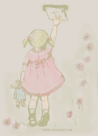 Original children's illustration by artist Nancy Ball