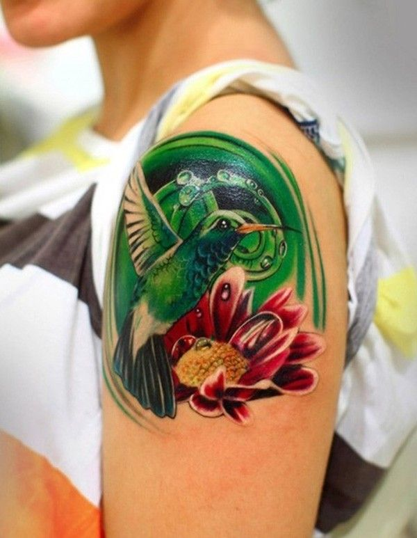 Green Hummingbird And Red Sunflower Watercolor Tattoo On Shoulder
