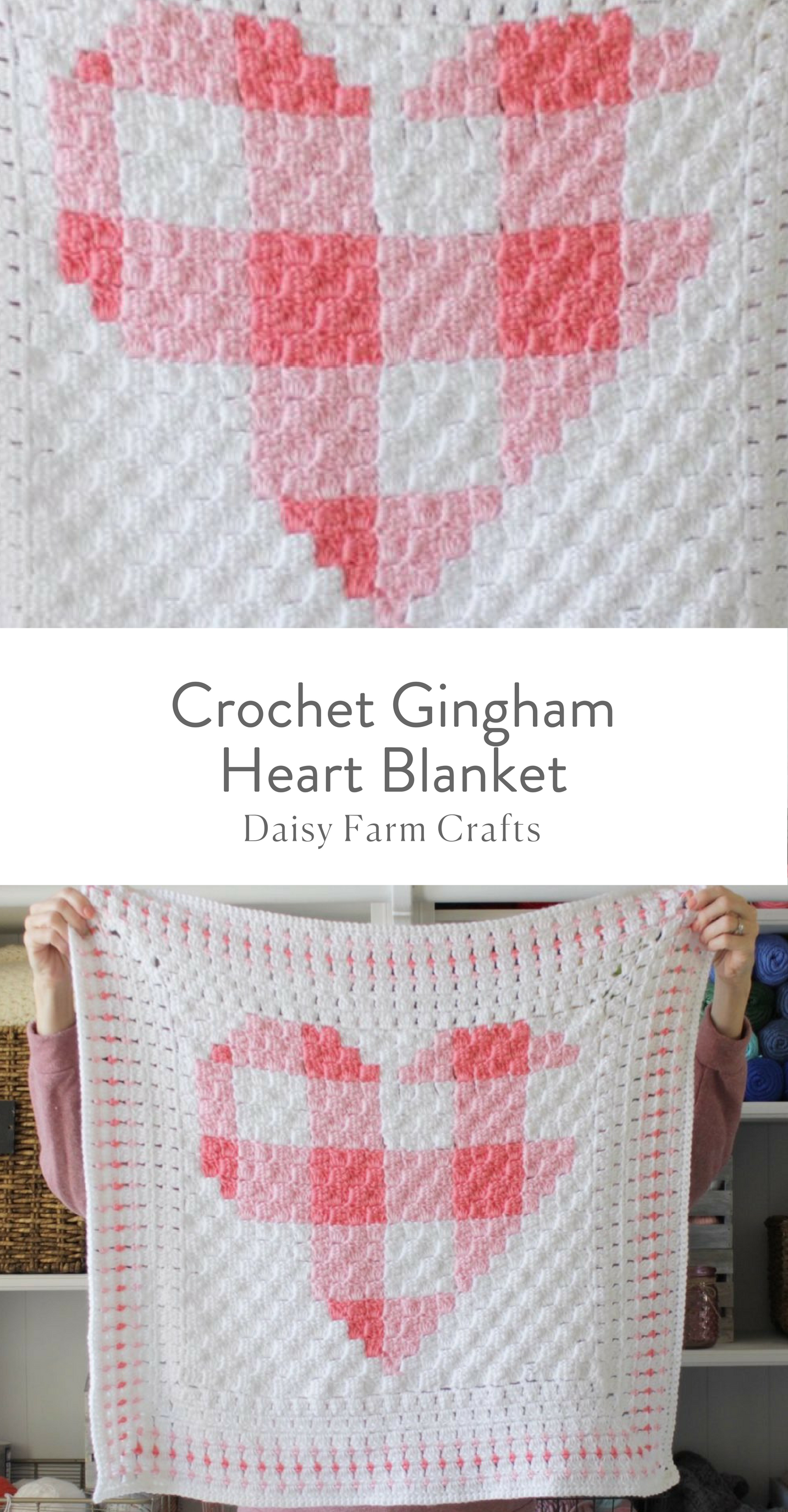 Free Pattern - Crochet Gingham Heart Blanket | técnica c2 c crochet ...