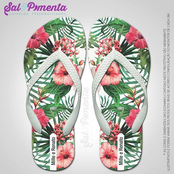 60d4812771 Chinelos Personalizados Casamento Floral | Sal E Pimenta Chinelos | Elo7