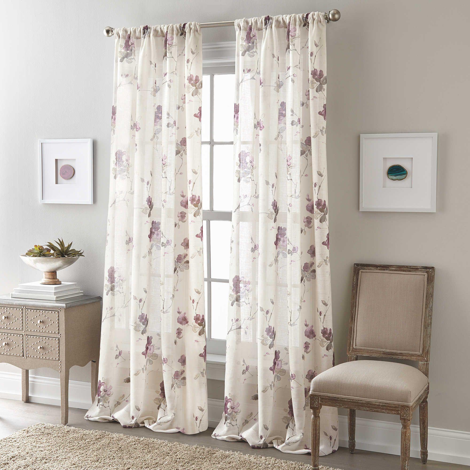 Zen Floral 84 Inch Rod Pocket Semi Sheer Window Curtain Panel In