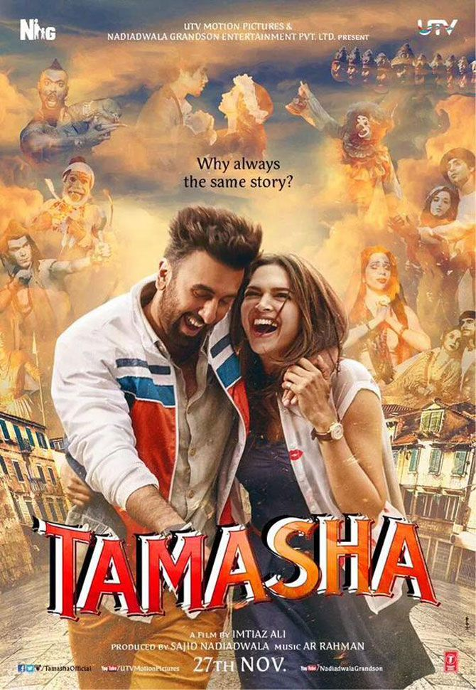 Deepika Padukone Ranbir Kapoor Look Adorable In Tamasha Poster Tamasha Movie Hindi Movies Bollywood Movie