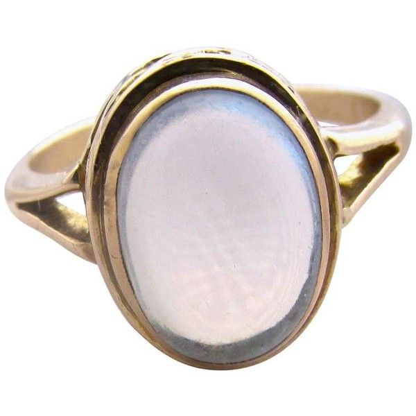 Preowned Antique Moonstone Gold Ring (£750) ❤ liked on Polyvore featuring jewelry, rings, multiple, coin rings, gold moonstone ring, yellow gold rings, antique gold jewellery and moonstone ring