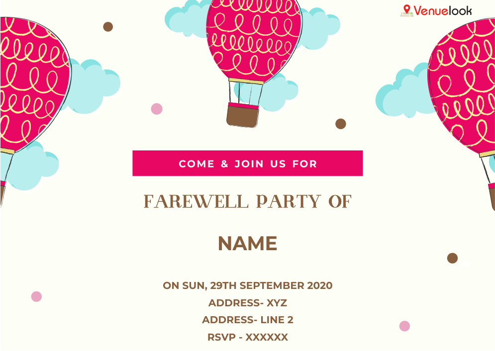 Balloon Celebration E Invite Farewell Cards Farewell Parties Card Template