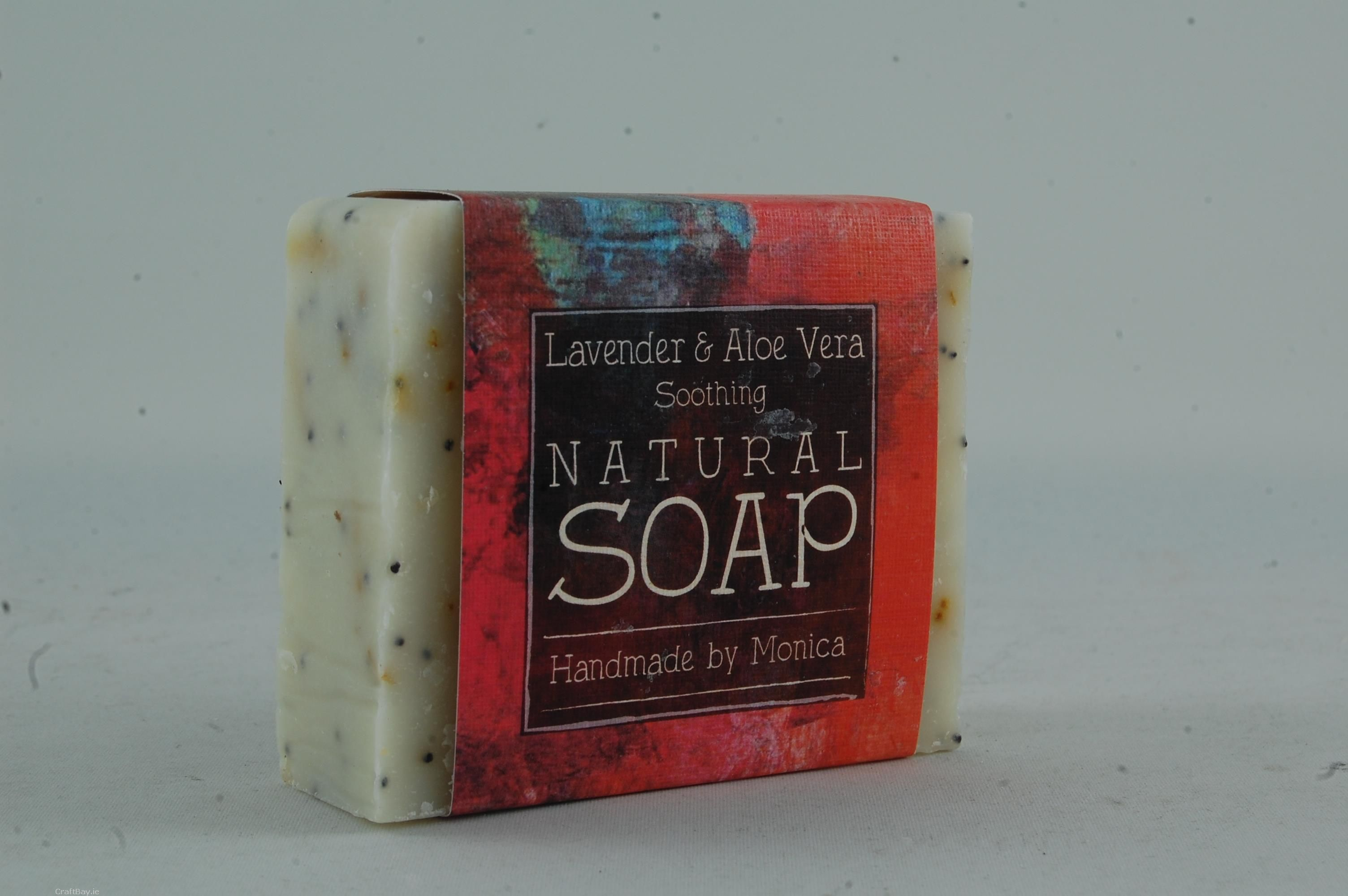 A bar of handmade natural soap with a hand carved slate soap dish.  There are six different variations to chose from:-  1.ylang ylang with kilbeggan organic oats and honey  2. clove bud and sweet orange  3. lavender and aloe vera with calendula petals and poppy seeds  4. lemongrass  5. peppermint with corn meal  6. eucalyptus and rosemary with poppy seeds     Contact us for your choice