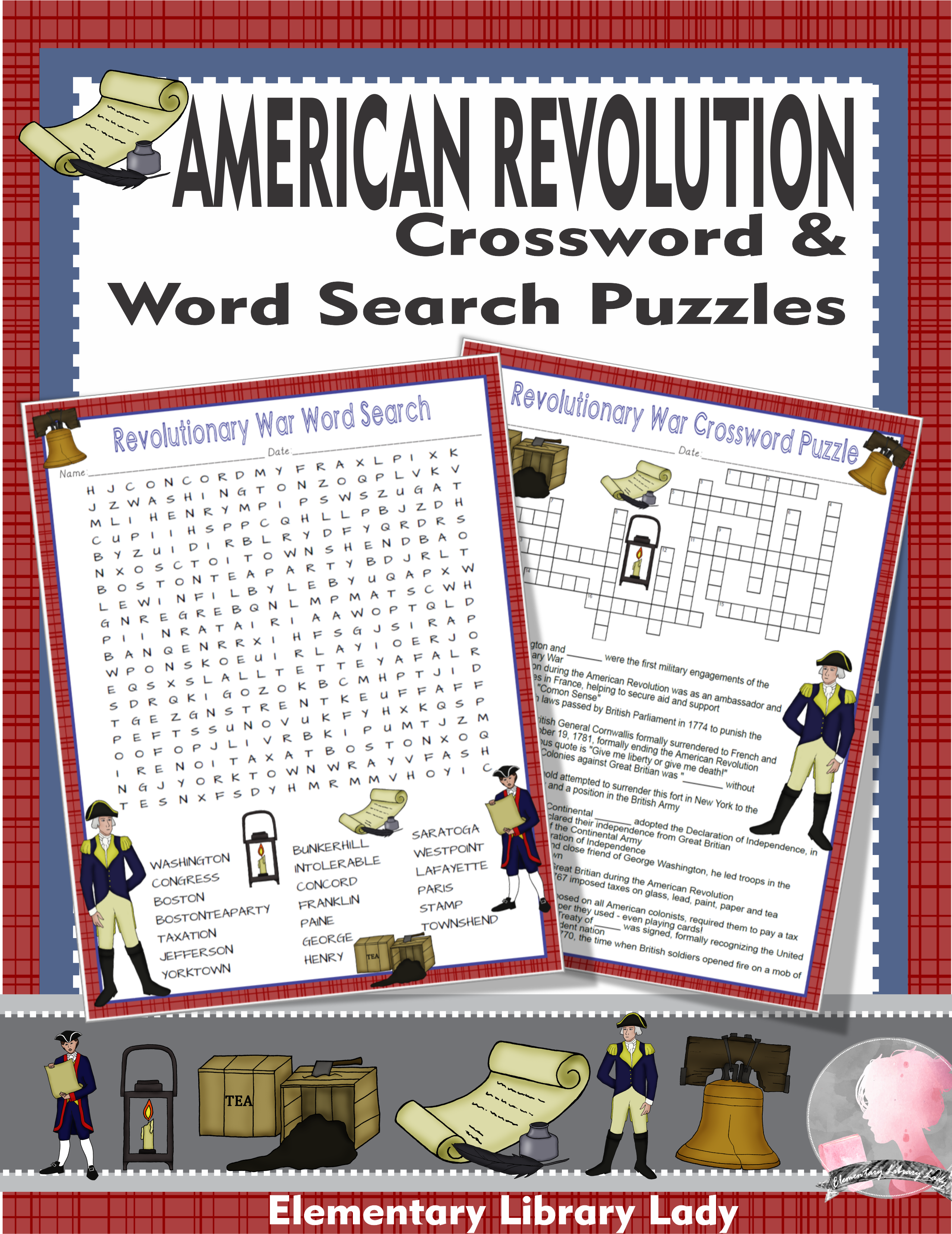 American Revolution Activities Crossword Puzzle And Word