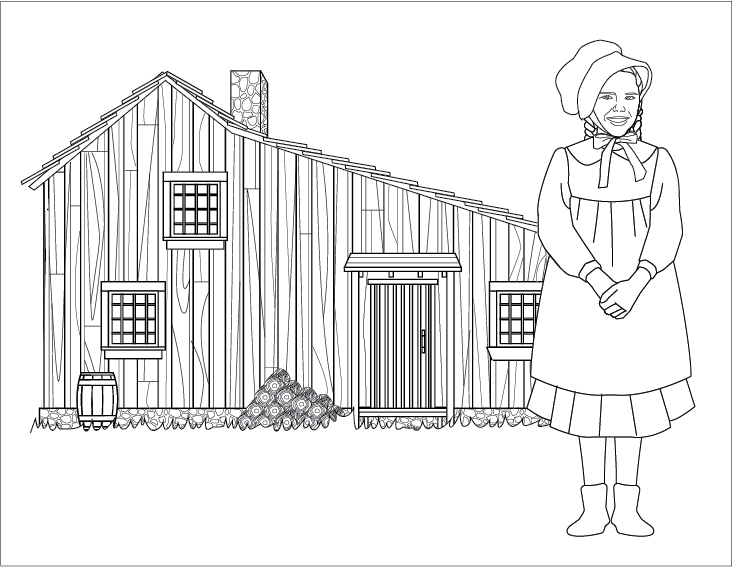 Laura Ingalls And Her Little House Coloring Page Coloring Pages House Colouring Pages Painting Templates