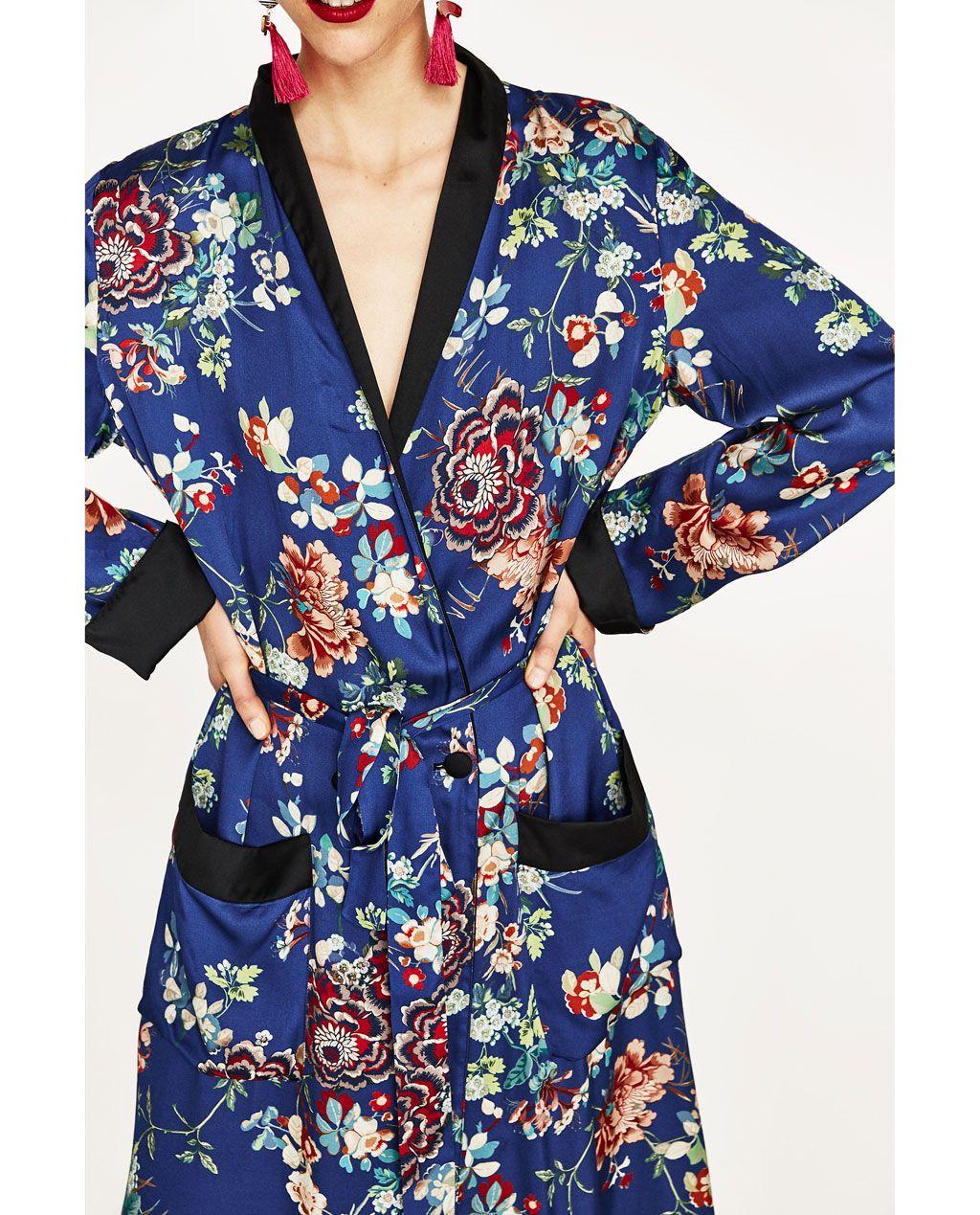 8159e13a LONG FLORAL PRINT KIMONO-DRESS TIME-WOMAN | ZARA United Kingdom ...