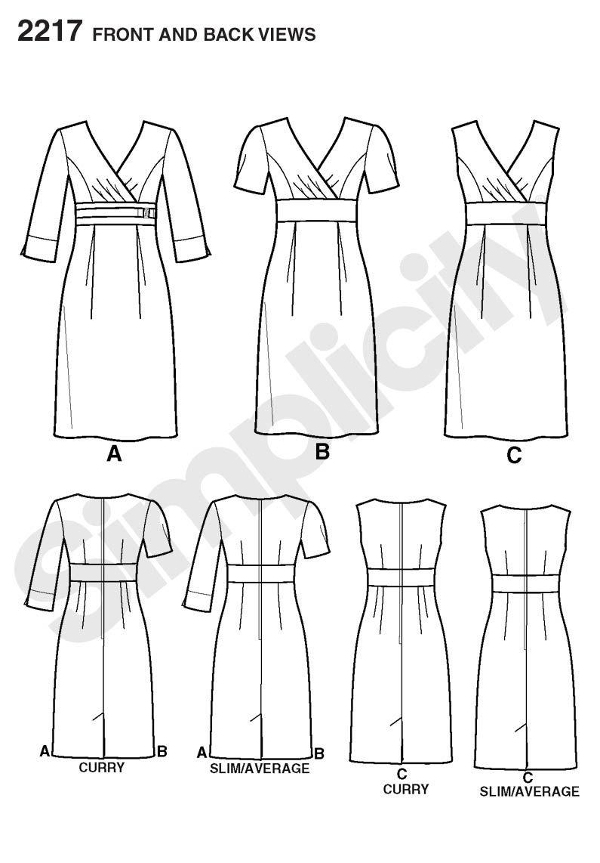 Simplicity pattern 2217: Line Art | Patronaje | Pinterest | Patrones ...