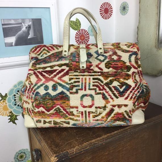 1387bf48b071 Vintage Lee Stemer Original Carpet Bag Style Purse, Tapestry Doctor Bag,  1960s 1970s Style Handbag
