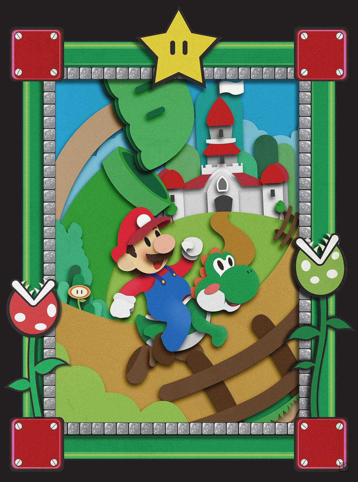 Paper Video Games Created by Marcus Nascimento (Mario