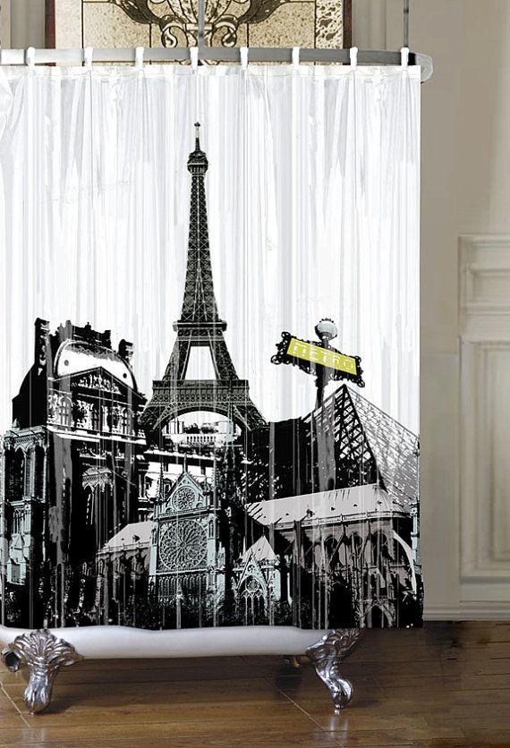 Paris Eiffel Tower Waterproof Shower Curtain Black And White