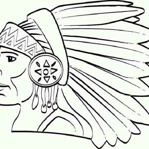 Little Native American Girl On Native American Day Coloring Page