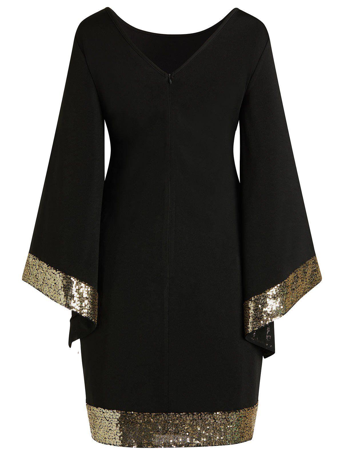 Gold Trim Black Dress Plus Size Work Dresses Dresses With Sleeves Flare Sleeve Dress