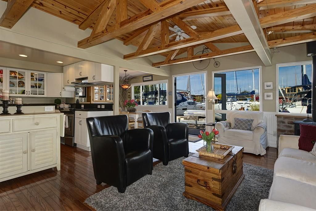Everything In This Seattle Houseboat Is Brand New. We Love The Exposed  Beams And French Doors That Lead To The Dock.