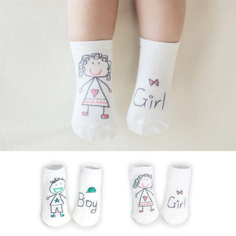 Infantil Del Niño Del Bebé Kid Boy Girl Imprimió la Historieta Suave antideslizante Puños de Arranque Calcetines de Algodón 0-3Y