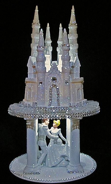 Charming LIGHTED CINDERELLA PRINCE CASTLE WEDDING CAKE TOPPER