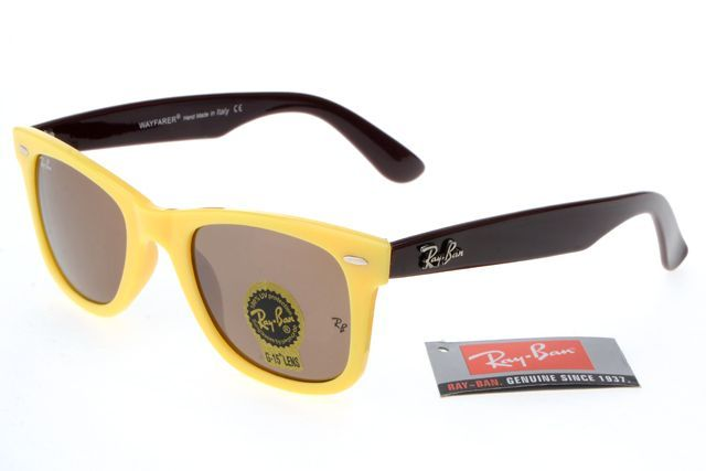 12d356b12b1973 Ray-Ban Wayfarer 2140 Dark Brown Yellow Frame Tawny Lens RB1106  RB-1114  -   27.30   cheap sunglass