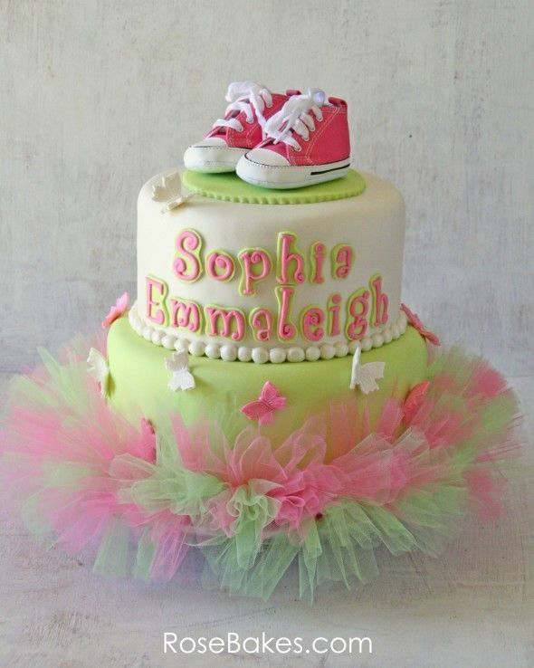 Pink Green Tutu Cake with baby shoes topper
