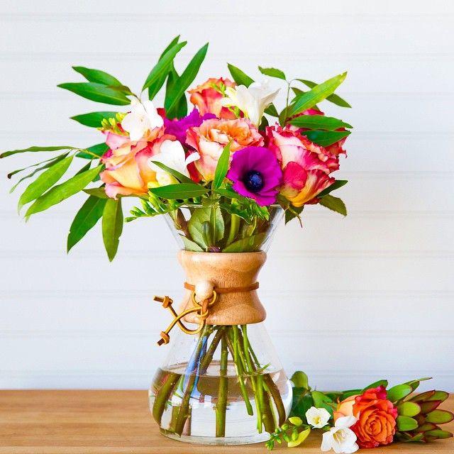 22876098605 Brilliant use of a Chemex coffee carafe as a flower vase!