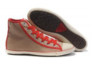 womens Converse canvas shoes grey red