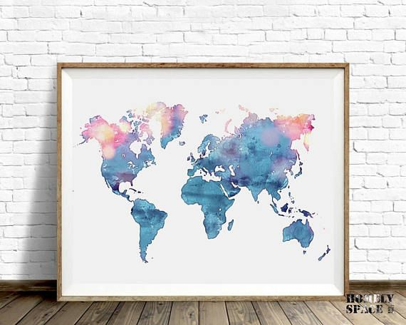 World map poster blue watercolor world map art push pin map of the world map poster blue watercolor world map art push pin map of the world travel map gumiabroncs Gallery