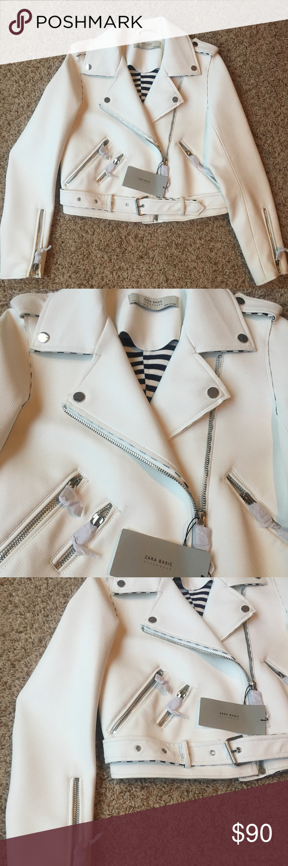 NEW* ZARA Basic Outerwear White Biker Jacket BRAND NEW