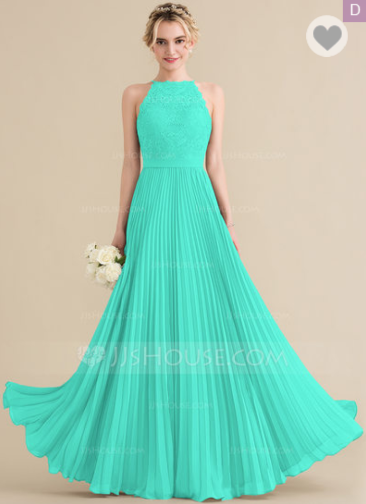 3efd843d35 A-Line Princess Scoop Neck Floor-Length Chiffon Lace Bridesmaid ...