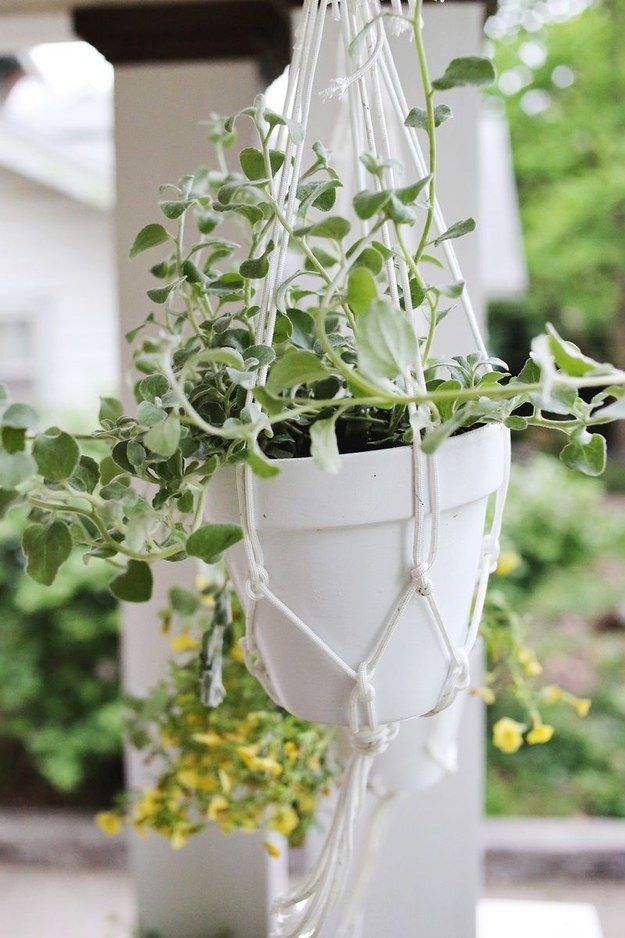 Add some hanging planters. | 39 Budget Curb Appeal Ideas That Will Totally Change Your Home