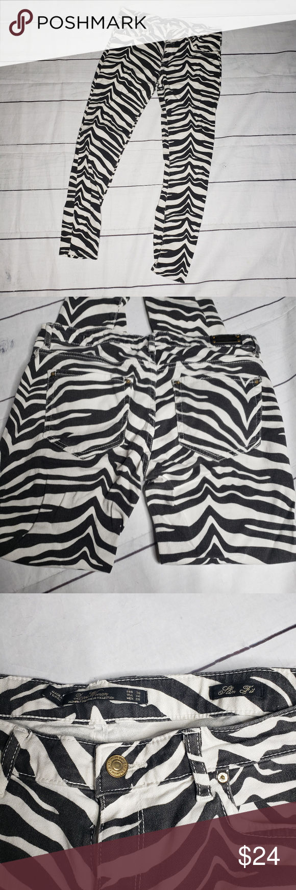 Zara Skinny  fit zebra print jeans 6 Zara Woman black and white zebra print jeans in size . Ankle length.  Please see pulled stitch on rear pocket.  98% cotton 2% elastane  Measurements are approximate and taken with a fabric tape measure.  Waist unaligned:15  Rise:9 Inseam:25.5 Leg Opening: 4.5 Zara Jeans Skinny #fabrictape