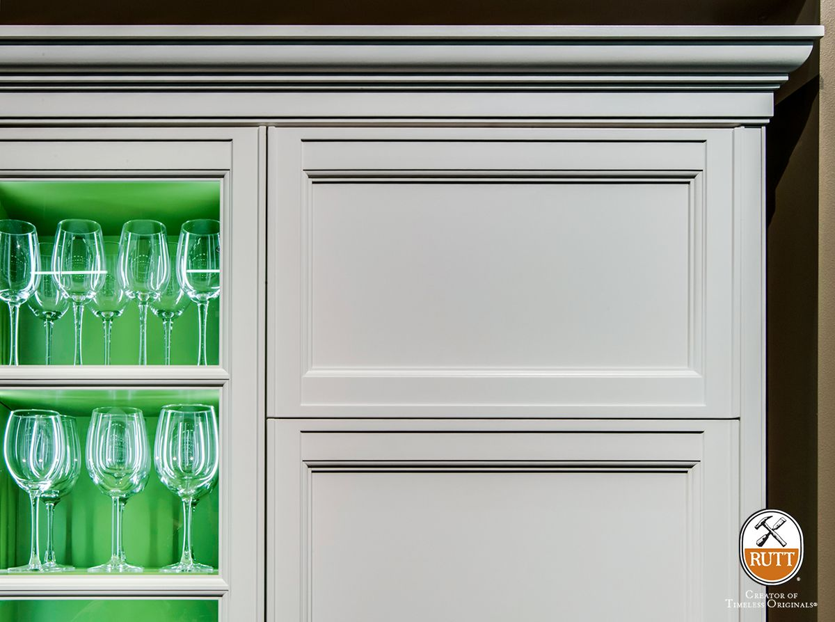 Exeter Series Cabinetry By Rutt HandCrafted Cabinetry ~ White Paint With  Napa Vineyards Green Painted Interiors