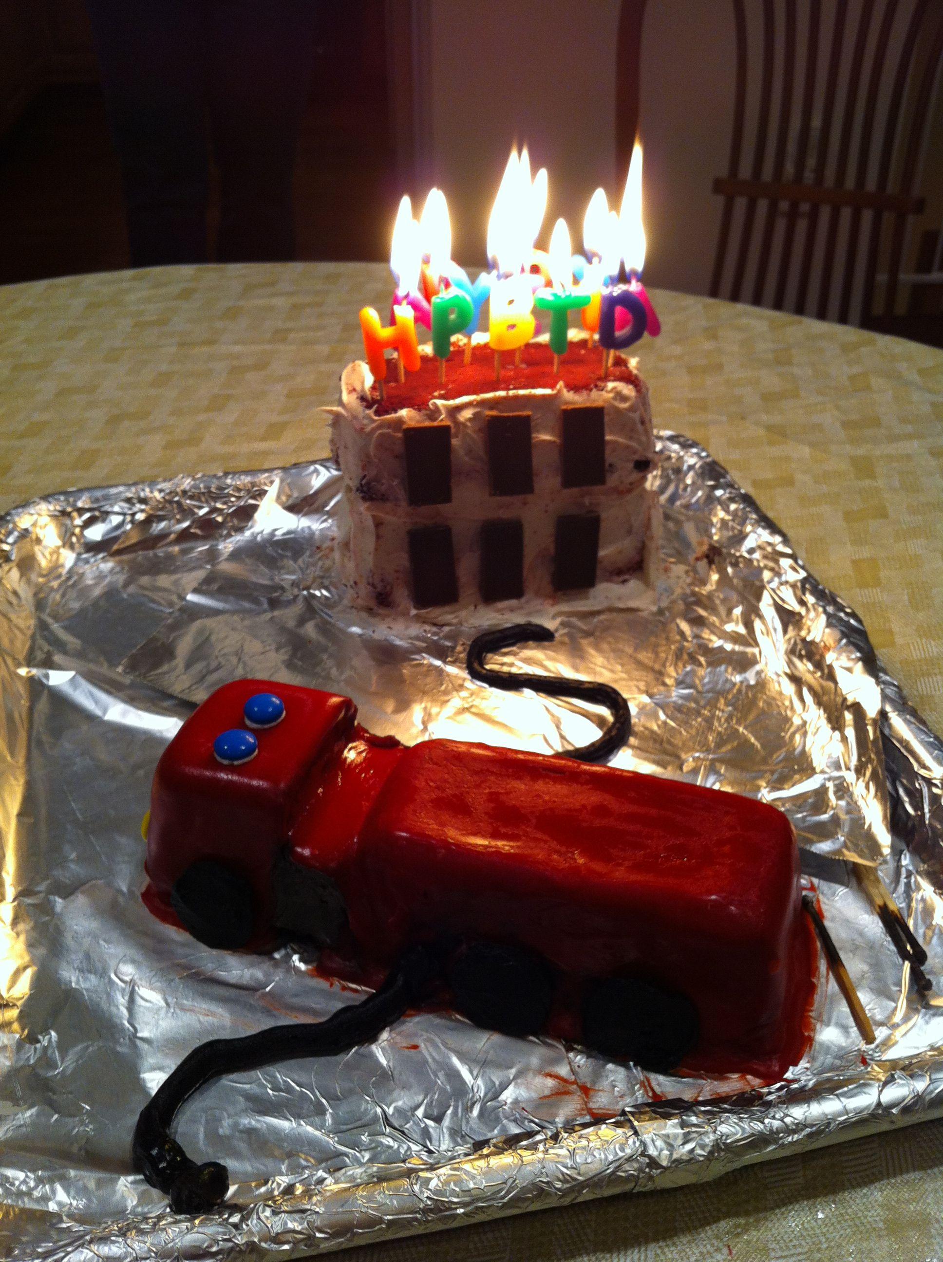 Fire Truck Burning Building Cake