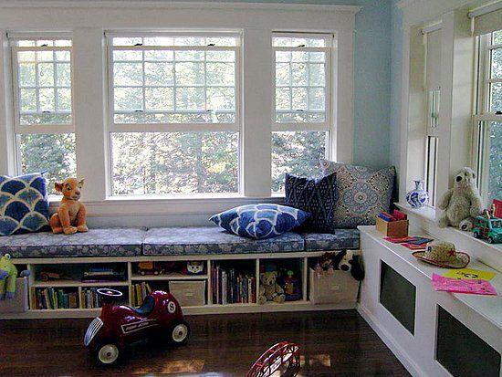 Kids On Window Seat Storage Home Interior