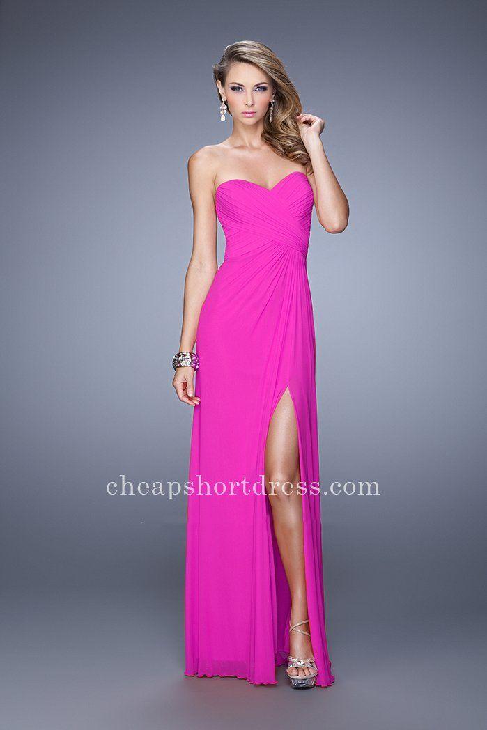Magenta Embellished Net Jersey La Femme 21270 Side Slit Prom Dresses ...