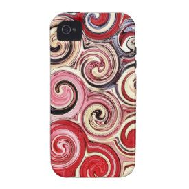Swirl Me Pretty Colorful Red Blue Pink Pattern iPhone 4/4S Covers