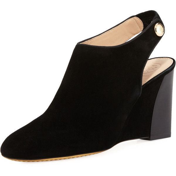 8aeb8a669 Tory Burch Marisa Suede 85mm Wedge Bootie (440 CAD) ❤ liked on Polyvore  featuring