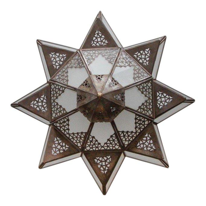 Moroccan Moorish Star Shape Frosted Glass Light Shade