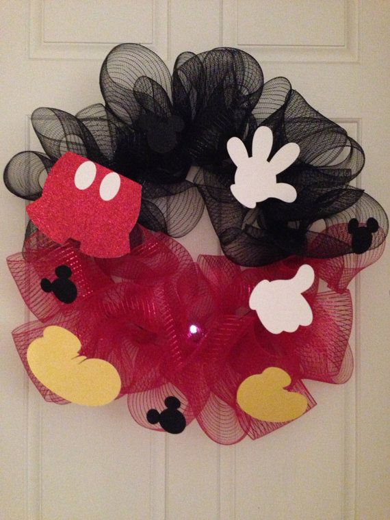 Mickey Mouse Wreath by ItoFloral on Etsy, $40.00 #DisneySide Could make with any character