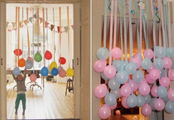 Ideias criativas e inteligentes para decorar a festa do seu filho com bexigas! Baby shower  -> Decoração De Festa Com Balões No Teto