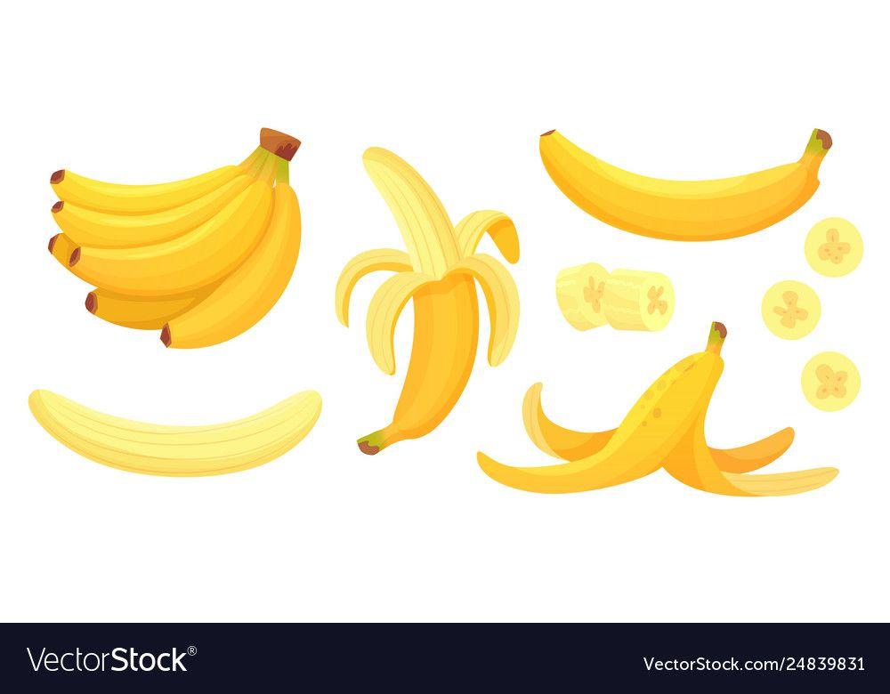 Cartoon Bananas Peel Banana Yellow Fruit And Vector Image Affiliate Peel Banana Cartoon Bananas Ad Nature Vector Cartoon Banana Vector Free