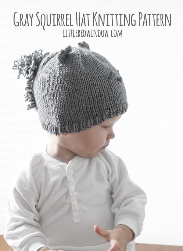 Gray Squirrel Hat Knitting Pattern | Crazy for DIY | Pinterest | Tejidos