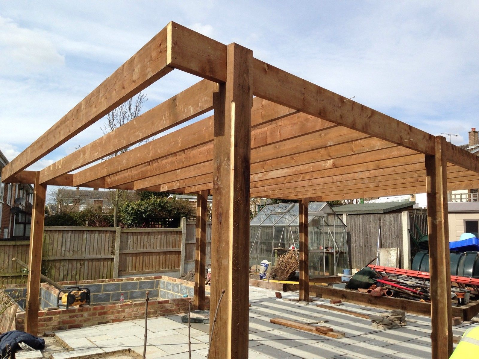 Large m m wooden pergola oversized pergola large car port