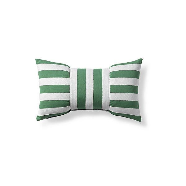 Designer Bow Jade Outdoor Lumbar Pillow ($139) ❤ liked on Polyvore featuring home, outdoors, outdoor decor, outside garden decor, outdoor patio decor, outdoor garden decor and frontgate