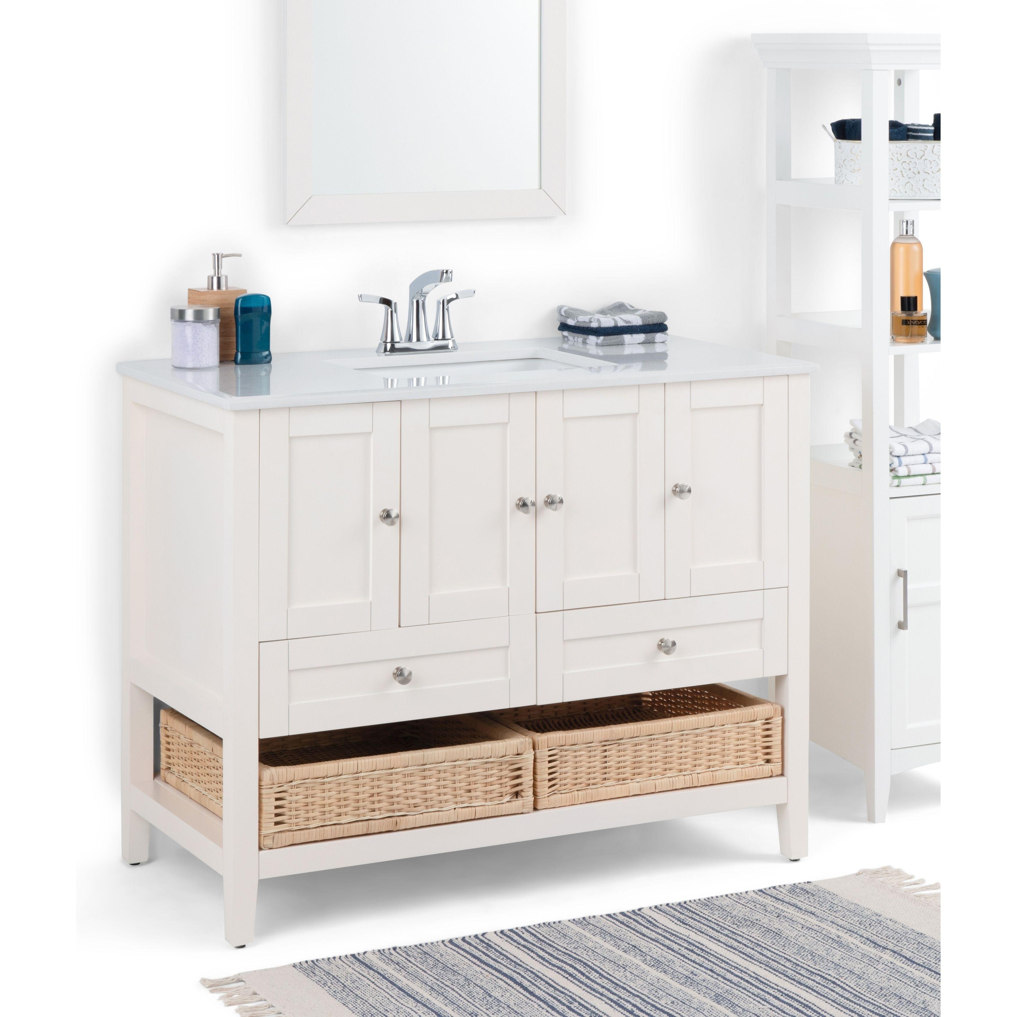 Wyndenhall Belmont 42 Inch Contemporary Bath Vanity In Soft White