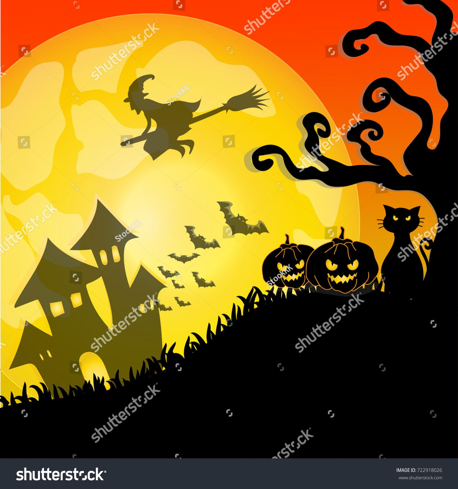 Vector and illustration of silhouette of Halloween