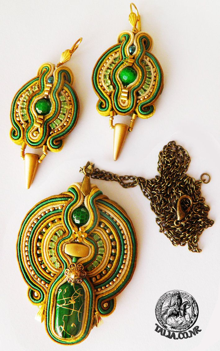 Soutache set in Green by caricatalia